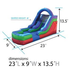 12' Retro Rainbow Inflatable Water Slide